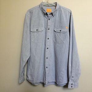 FIELD & STREAM stripe denim thick cotton shirt L